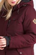 Оптом Куртка парка зимняя женская большого размера бордового цвета 19491Bo, фото 16