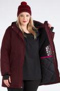 Оптом Куртка парка зимняя женская большого размера бордового цвета 19491Bo, фото 17