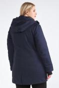 Оптом Куртка парка зимняя женская большого размера темно-синего цвета 19491TS, фото 6