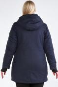 Оптом Куртка парка зимняя женская большого размера темно-синего цвета 19491TS, фото 7