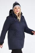 Оптом Куртка парка зимняя женская большого размера темно-синего цвета 19491TS, фото 10