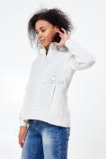 Оптом Молодежная стеганная куртка женская белого цвета 1960Bl в  Красноярске, фото 3