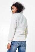 Оптом Молодежная стеганная куртка женская белого цвета 1960Bl в  Красноярске, фото 4