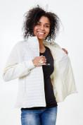 Оптом Молодежная стеганная куртка женская белого цвета 1960Bl в  Красноярске, фото 6