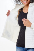 Оптом Молодежная стеганная куртка женская белого цвета 1960Bl в  Красноярске, фото 7