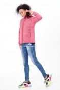 Оптом Молодежная стеганная куртка женская розового цвета 1960R в Казани, фото 2