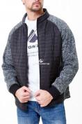 Оптом Молодежная стеганная куртка мужская черного цвета 1961Ch в Казани, фото 5