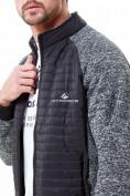 Оптом Молодежная стеганная куртка мужская черного цвета 1961Ch в Казани, фото 6
