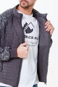Оптом Молодежная стеганная куртка мужская темно-серого цвета 1961TC в Казани, фото 6