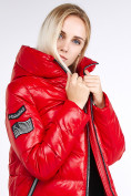 Оптом Куртка зимняя женская классическая красного цвета 1962_14Kr в Казани, фото 9