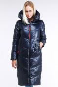 Оптом Куртка зимняя женская молодежная темно-синий цвета 1969_02TS в Казани, фото 2