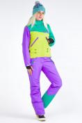 Оптом Женский зимний комбинезон фиолетового цвета 19691F в Казани, фото 3