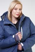 Оптом Куртка горнолыжная женская большого размера темно-синего цвета 21982TS в Екатеринбурге, фото 5