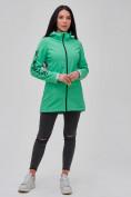 Оптом Парка женская осенняя весенняя softshell зеленого цвета 2023Z в Екатеринбурге