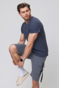 Оптом Летние шорты трикотажные мужские темно-серого цвета 21005TC, фото 3