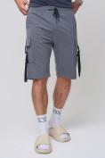 Оптом Летние шорты трикотажные мужские темно-серого цвета 21005TC, фото 9