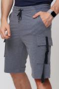 Оптом Летние шорты трикотажные мужские темно-серого цвета 21005TC, фото 12