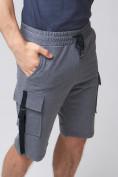 Оптом Летние шорты трикотажные мужские темно-серого цвета 21005TC, фото 13