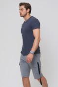 Оптом Летние шорты трикотажные мужские серого цвета 21005Sr, фото 4