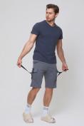 Оптом Летние шорты трикотажные мужские темно-серого цвета 21005TC, фото 2