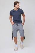 Оптом Летние шорты трикотажные мужские серого цвета 21005Sr