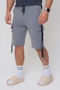 Оптом Летние шорты трикотажные мужские серого цвета 21005Sr, фото 8