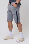 Оптом Летние шорты трикотажные мужские серого цвета 21005Sr, фото 9