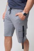 Оптом Летние шорты трикотажные мужские серого цвета 21005Sr, фото 11