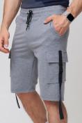Оптом Летние шорты трикотажные мужские серого цвета 21005Sr, фото 13