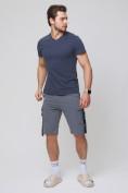 Оптом Летние шорты трикотажные мужские темно-серого цвета 21005TC