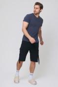 Оптом Летние шорты трикотажные мужские черного цвета 21005Ch, фото 4