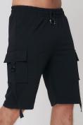 Оптом Летние шорты трикотажные мужские черного цвета 21005Ch, фото 13