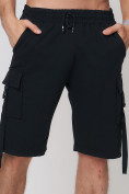 Оптом Летние шорты трикотажные мужские черного цвета 21005Ch, фото 14