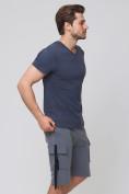 Оптом Летние шорты трикотажные мужские темно-серого цвета 21005TC, фото 4
