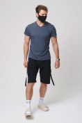 Оптом Летние шорты трикотажные мужские черного цвета 21005Ch