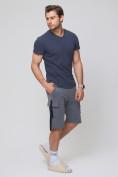 Оптом Летние шорты трикотажные мужские темно-серого цвета 21005TC, фото 5