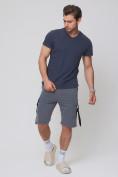 Оптом Летние шорты трикотажные мужские темно-серого цвета 21005TC, фото 6