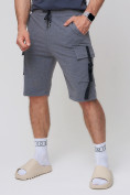Оптом Летние шорты трикотажные мужские темно-серого цвета 21005TC, фото 8
