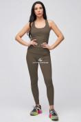 Оптом Спортивный костюм для фитнеса женский цвета хаки 21106Kh, фото 3