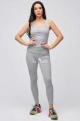 Оптом Спортивный костюм для фитнеса женский серого цвета 21106Sr, фото 3