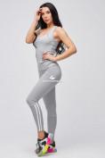 Оптом Спортивный костюм для фитнеса женский серого цвета 21106Sr