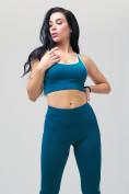 Оптом Спортивный костюм для фитнеса женский бирюзового цвета 212908Br, фото 10