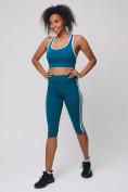 Оптом Спортивный костюм для фитнеса женский бирюзового цвета 212908Br