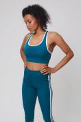 Оптом Спортивный костюм для фитнеса женский бирюзового цвета 212908Br, фото 12