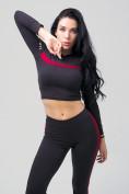 Оптом Спортивный костюм для фитнеса женский черного цвета 212912Ch, фото 11