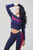 Оптом Спортивный костюм для фитнеса женский темно-синего цвета 212912TS, фото 7