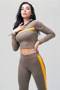 Оптом Спортивный костюм для фитнеса женский цвета хаки 212912Kh, фото 15