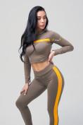Оптом Спортивный костюм для фитнеса женский цвета хаки 212912Kh, фото 13