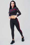 Оптом Спортивный костюм для фитнеса женский черного цвета 212912Ch, фото 7