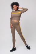 Оптом Спортивный костюм для фитнеса женский цвета хаки 212912Kh
